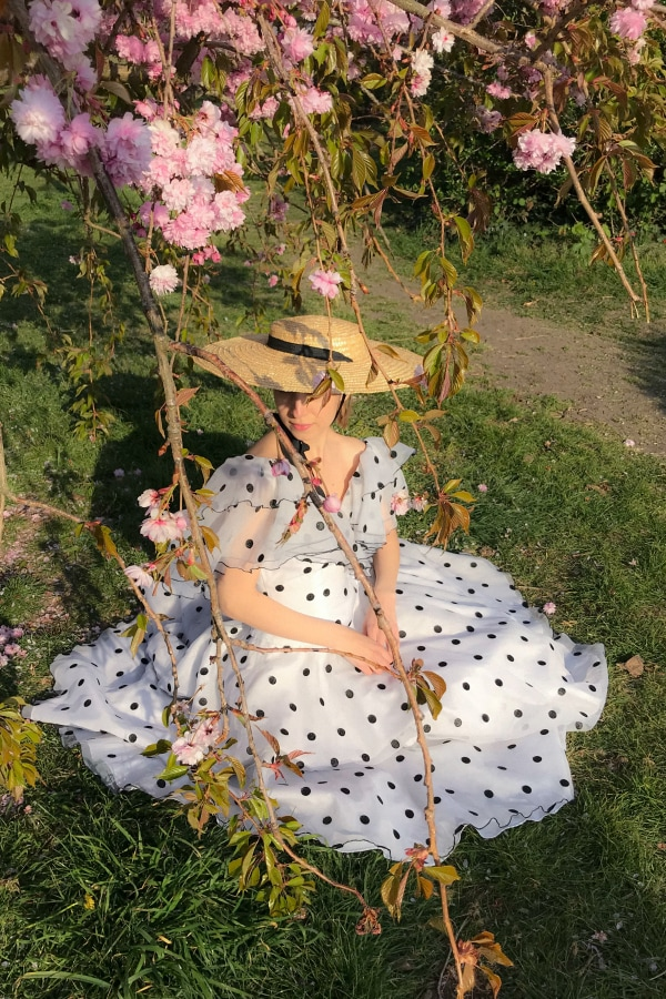 Narrations Ldn Vintage Vintage Ruffled Polka Dot Dres 0 Preview Images