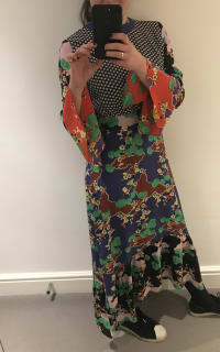 RIXO London Chrissy Patchwork Silk Midi  2 Preview Images