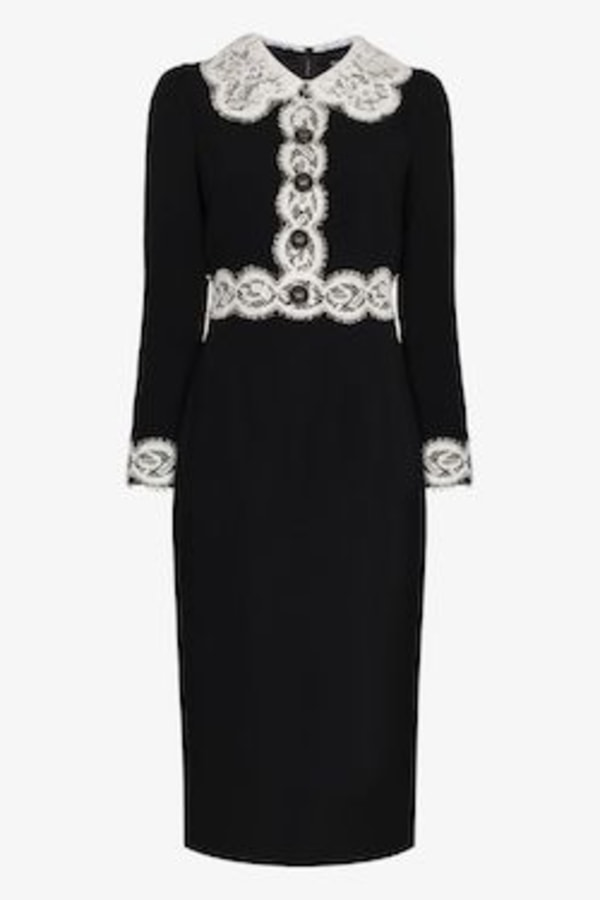 Image 1 of Dolce & Gabbana lace-trim midi dress