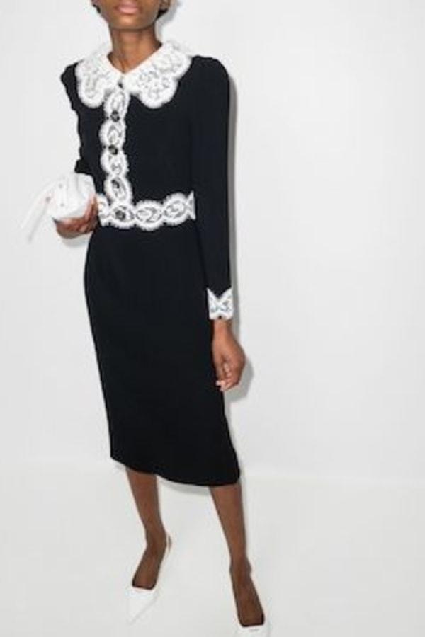 Image 2 of Dolce & Gabbana lace-trim midi dress