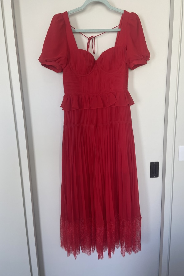 Image 2 of Self Portrait red chiffon midi dress