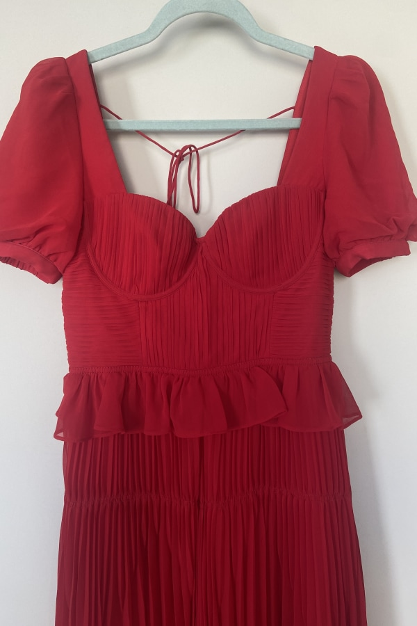 Image 3 of Self Portrait red chiffon midi dress