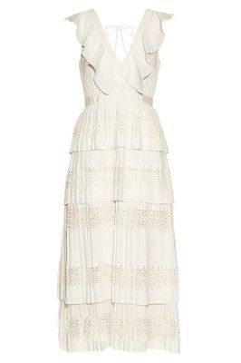 Self Portrait Victoria Tiered-Pleated Crepe De Chine Dress  2 Preview Images