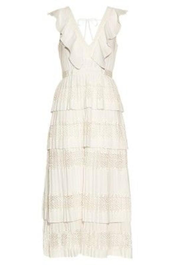 Self Portrait Victoria Tiered-Pleated Crepe De Chine Dress  2