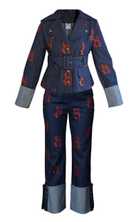 Olivia Annabelle Defoe Embroidered Denim Suit Preview Images