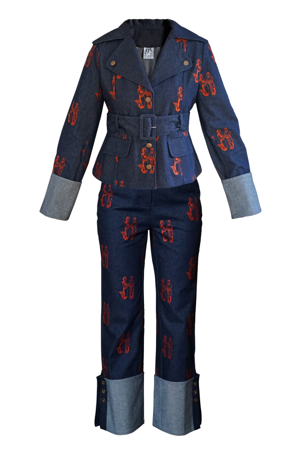 Olivia Annabelle Defoe Embroidered Denim Suit