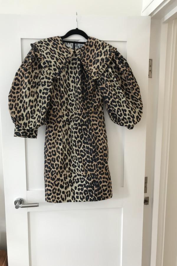 Image 2 of Ganni leopard print poplin dress