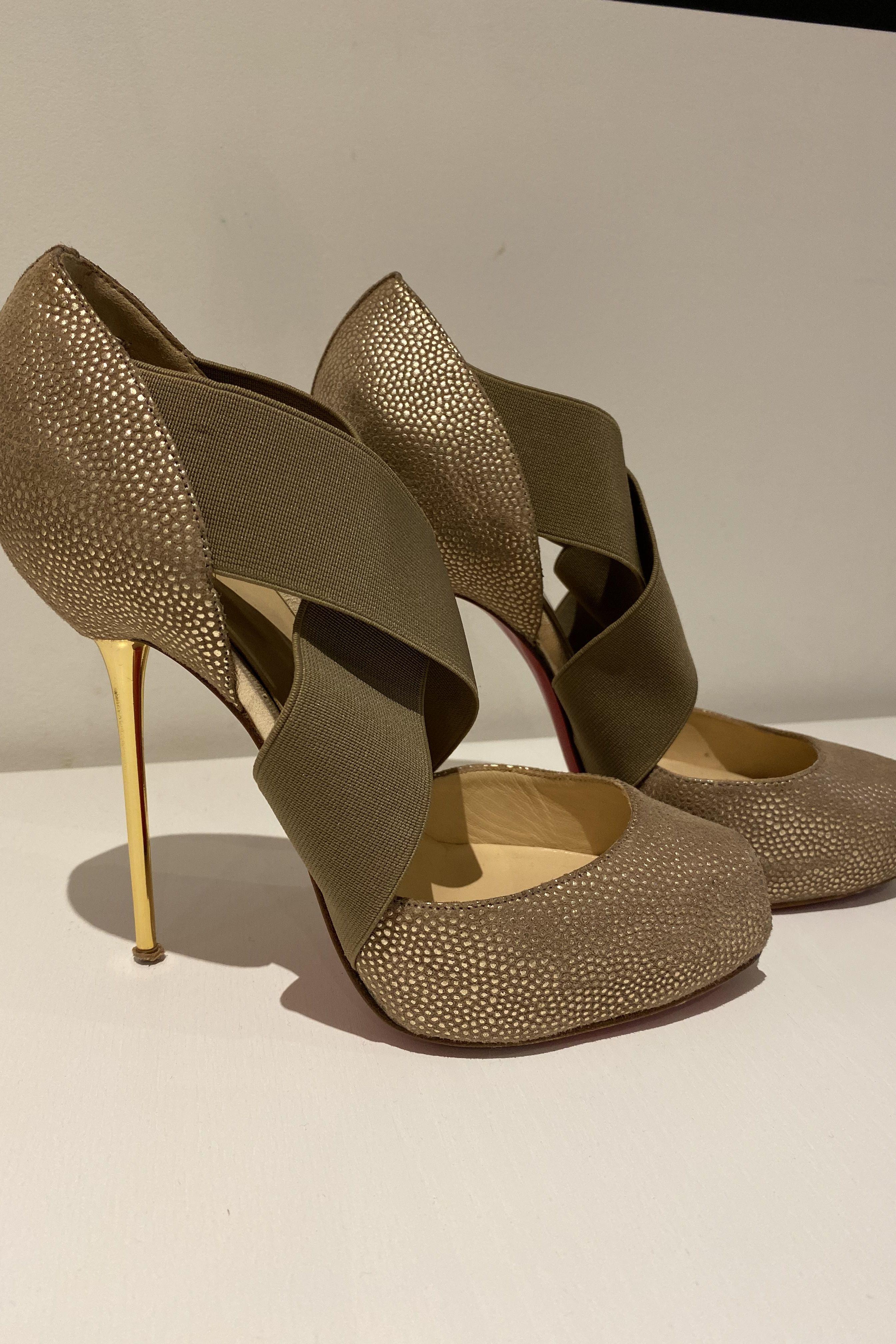Christian Louboutin Big Dorcet 120 Gold Heels 7 Preview Images
