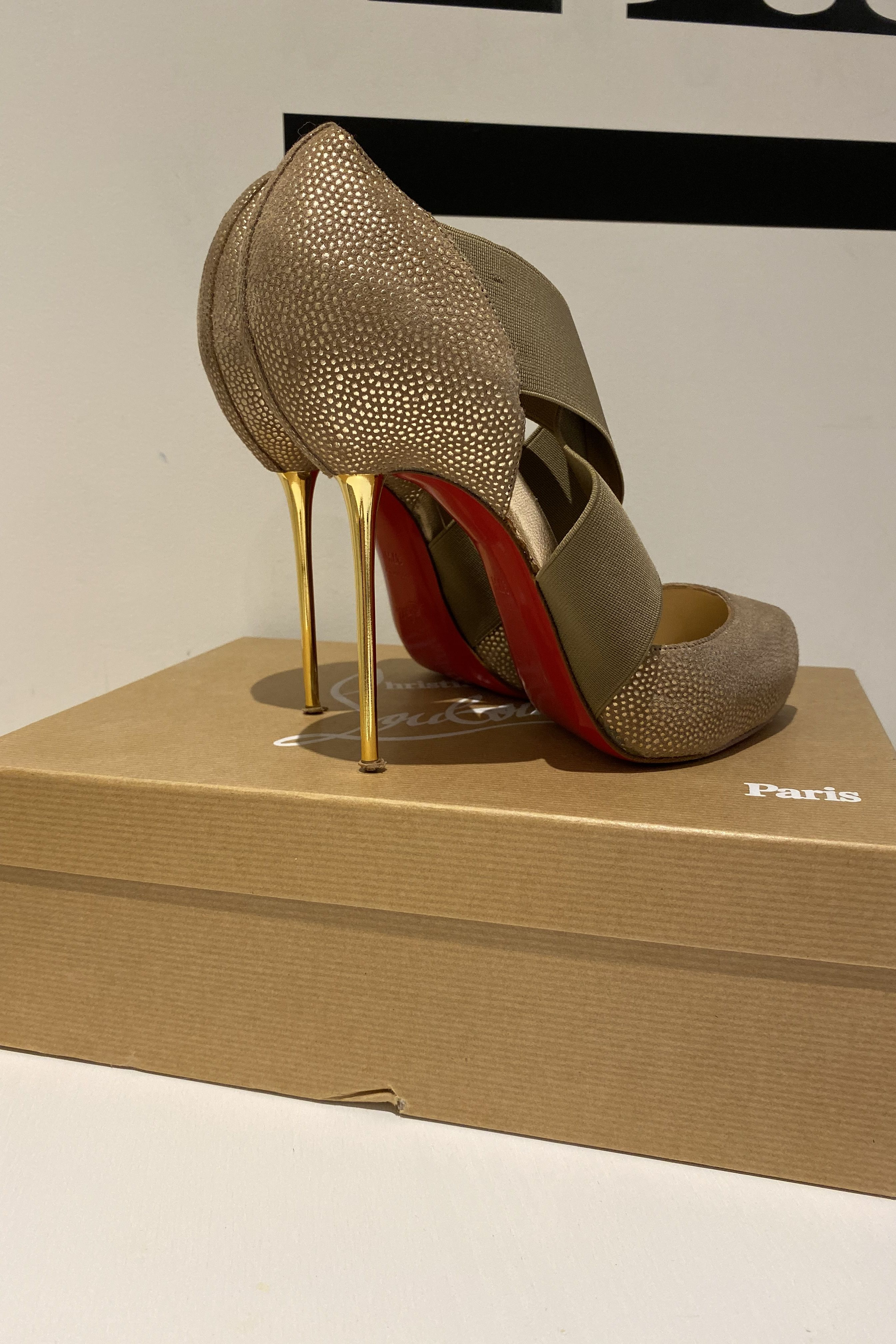 Christian Louboutin Big Dorcet 120 Gold Heels 4 Preview Images