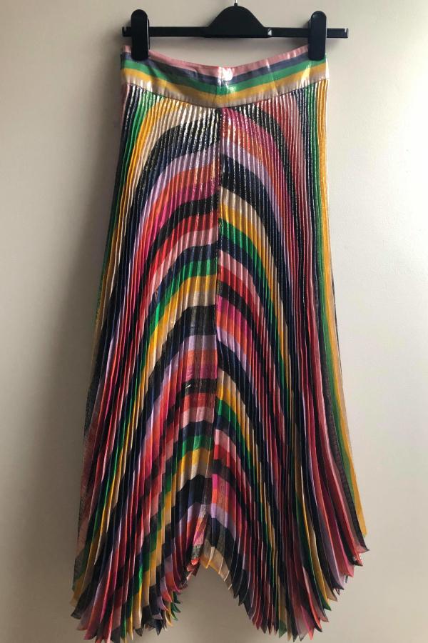 Alice + Olivia Katz pleated metallic silk-blend lamé skirt 2