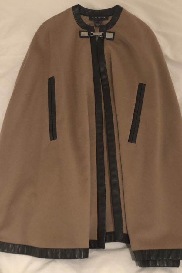 Ralph Lauren Beige Cashmere & Leather Cape 2