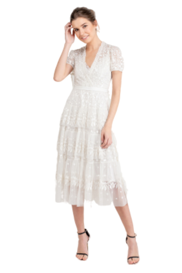 Needle & Thread White Tiered Lace Dress 0 Preview Images
