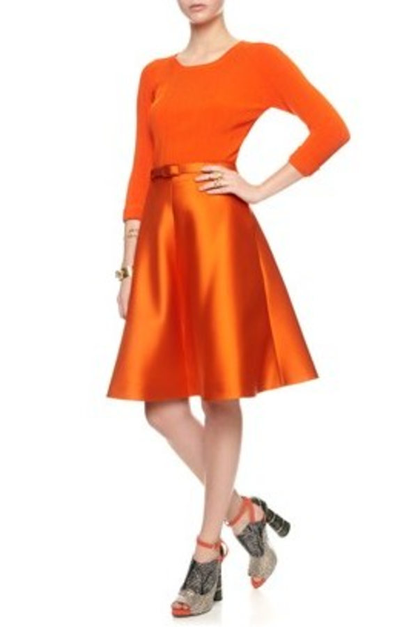 Carven Belted Orange Skirt  2