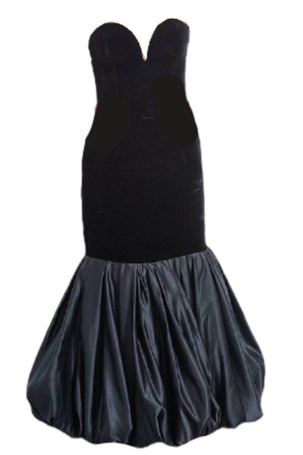 Image 1 of Vintage black velvet plunge dress