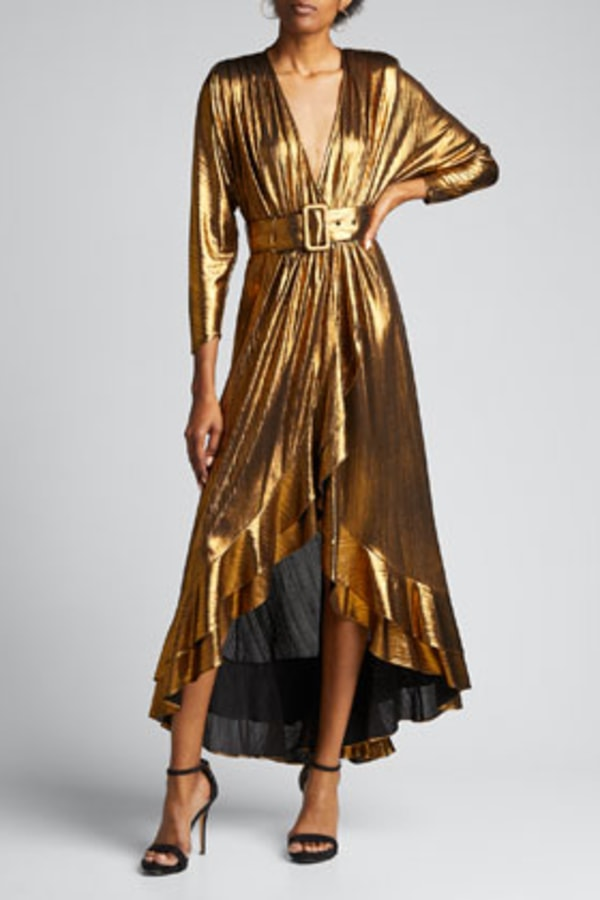 Image 4 of Retrofête wayne metallic belted dress