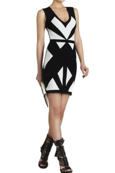 BCBGMAXAZRIA Evinna Geometric Jacquard Dress