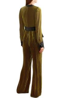 Diane von Furstenberg Satin-trimmed striped devoré-velvet jumpsuit 2 Preview Images