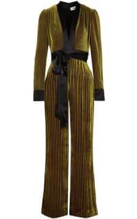 Diane von Furstenberg Satin-trimmed striped devoré-velvet jumpsuit Preview Images