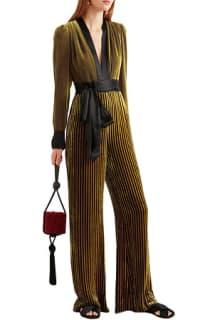 Diane von Furstenberg Satin-trimmed striped devoré-velvet jumpsuit 3 Preview Images