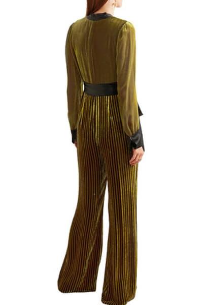 Diane von Furstenberg Satin-trimmed striped devoré-velvet jumpsuit 2