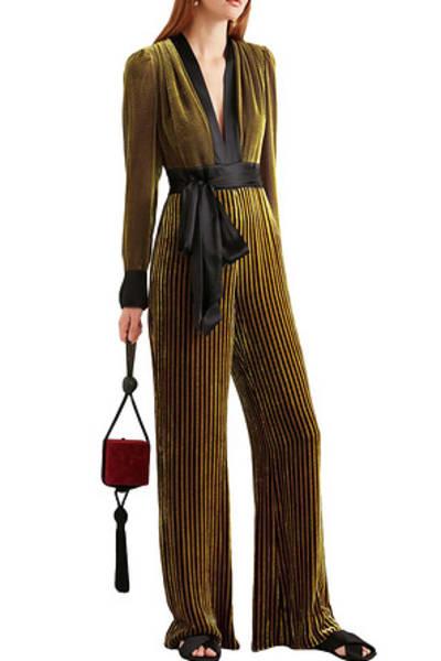Diane von Furstenberg Satin-trimmed striped devoré-velvet jumpsuit 3