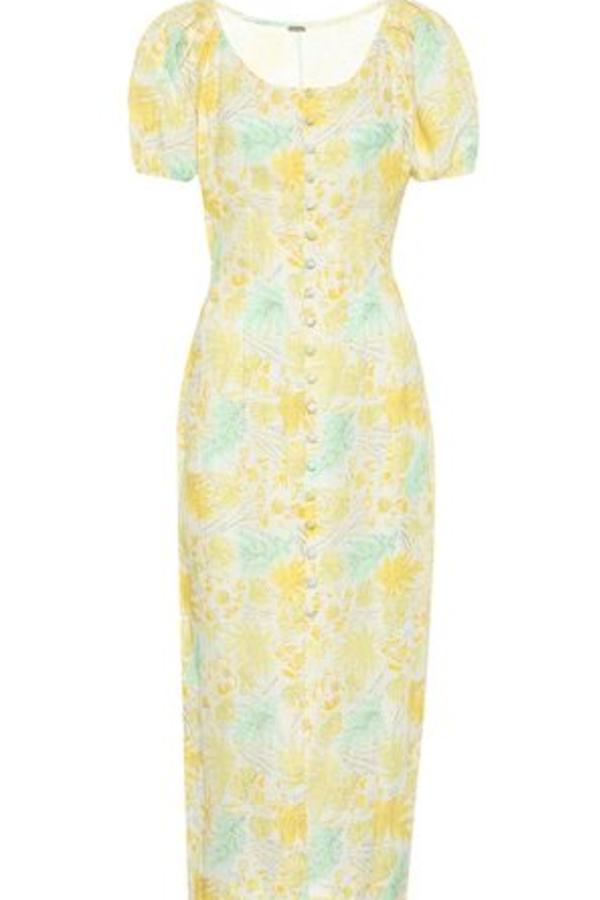 Cult Gaia Charlotte floral linen dress