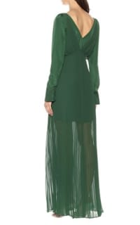 Self Portrait Pleated Green Maxi Dress 3 Preview Images