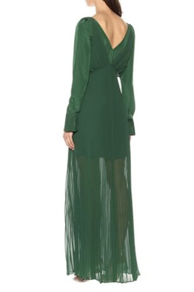 Self Portrait Pleated Green Maxi Dress 3