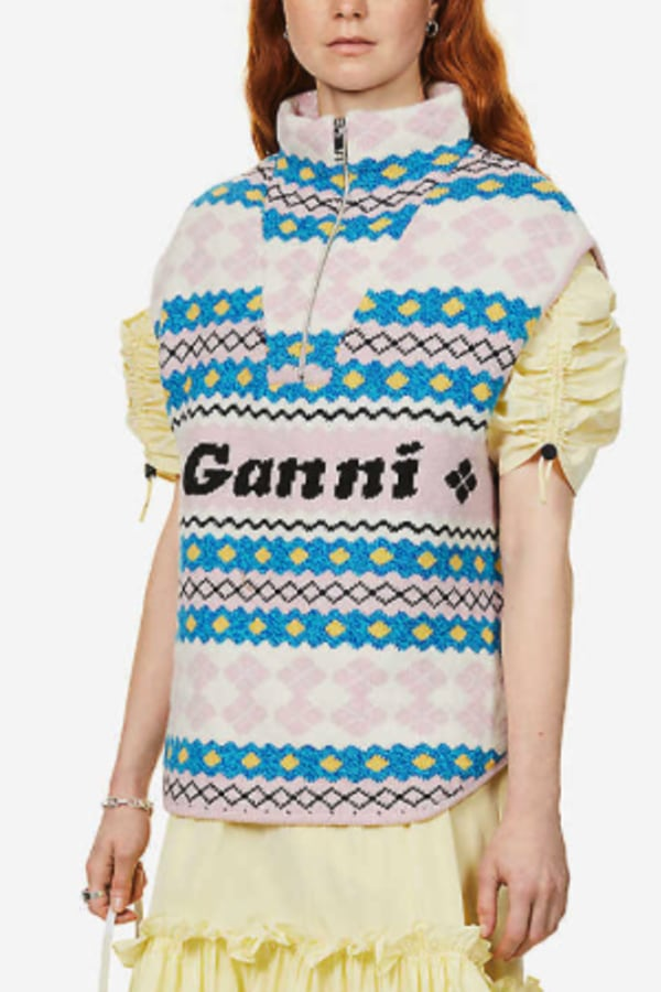 Ganni Branded-jacquard recycled wool 3 Preview Images