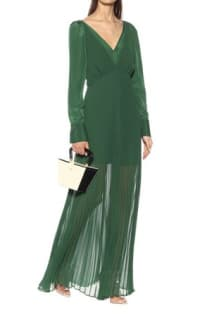 Self Portrait Pleated Green Maxi Dress 2 Preview Images