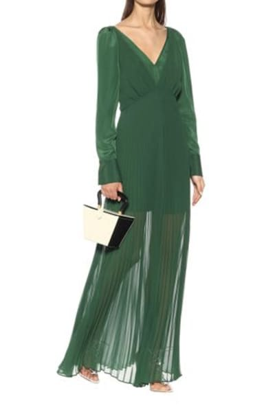 Self Portrait Pleated Green Maxi Dress 2