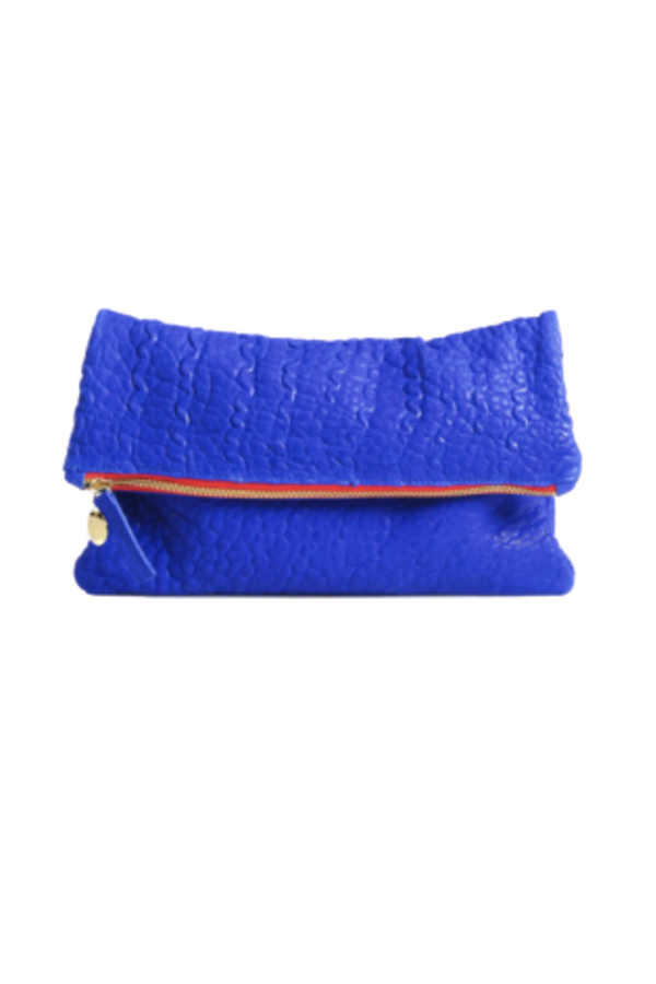 Clare V. Blue and red clutch