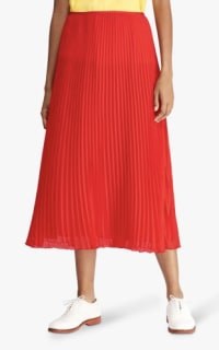 Ralph Lauren Pleated Georgette Midi Skirt 2 Preview Images
