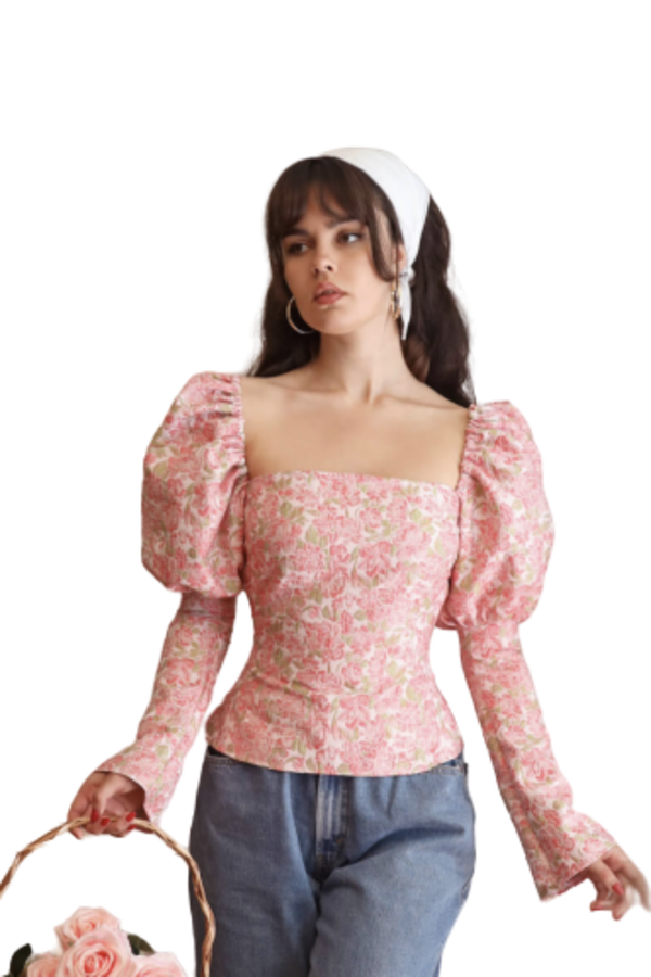 Image 1 of Olivia Rose The Label the ophelia top pink and green