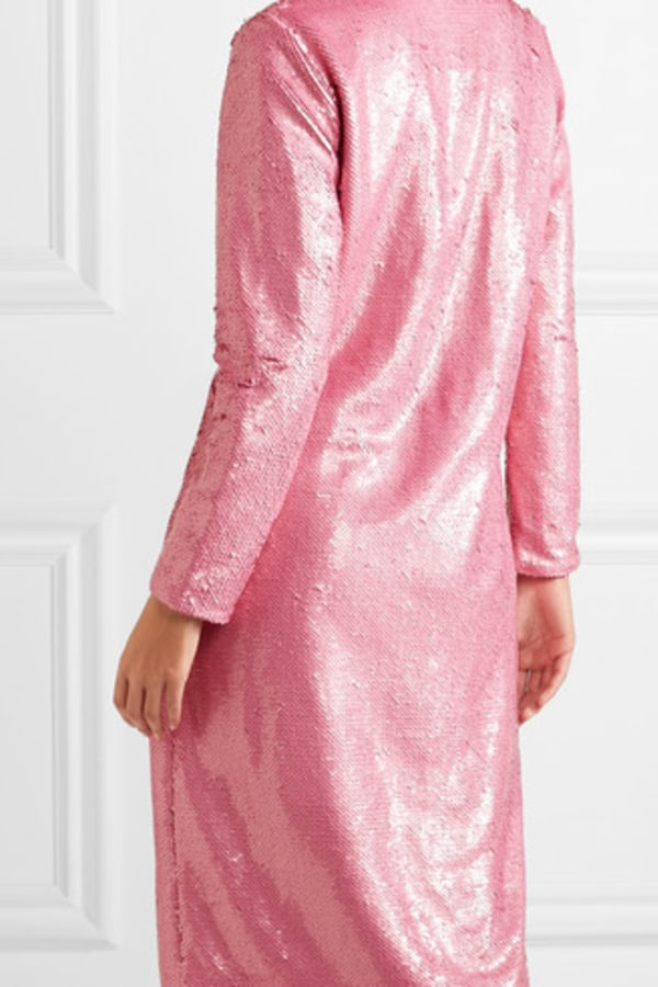 Image 5 of Ganni sequined satin wrap dress