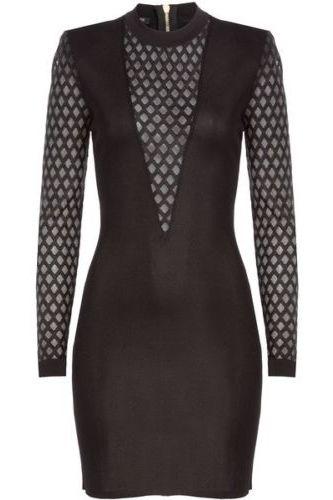 Balmain Sheer-Panelled Black Mini Dress 4 Preview Images