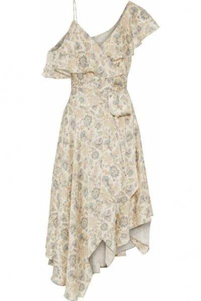 Zimmermann Asymmetric ruffled floral-print silk wrap midi dress 5