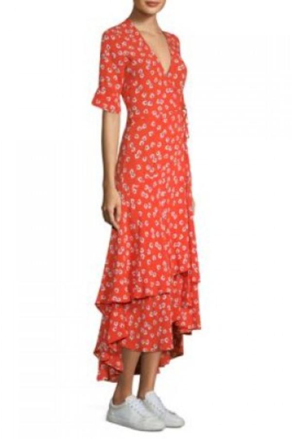 Ganni Floral-Print wrap maxi dress 4