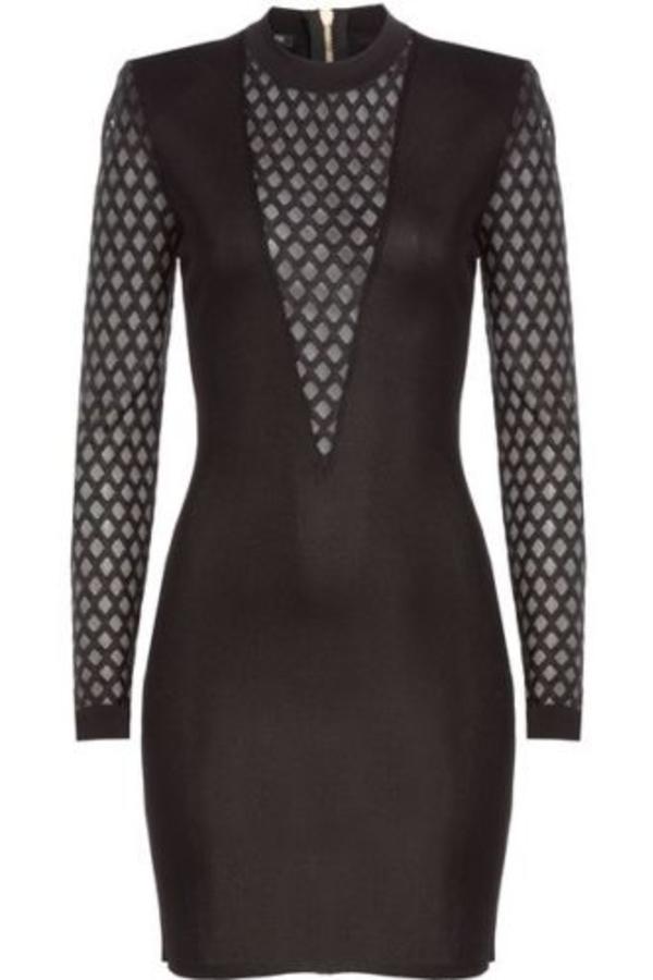 Balmain Sheer-Panelled Black Mini Dress 4