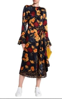 Mother of Pearl Floral Wrap Silk Midi Dress 4 Preview Images