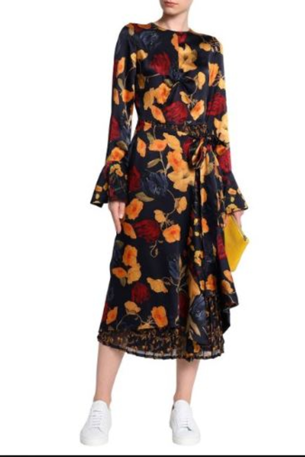 Mother of Pearl Floral Wrap Silk Midi Dress 4