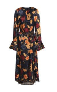 Mother of Pearl Floral Wrap Silk Midi Dress Preview Images