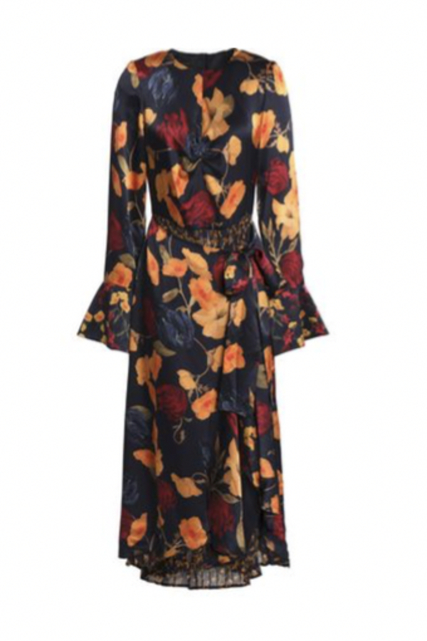 Mother of Pearl Floral Wrap Silk Midi Dress