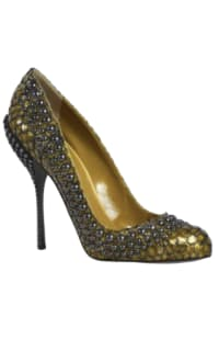 Sergio Rossi Military Green Studded Shoes Preview Images