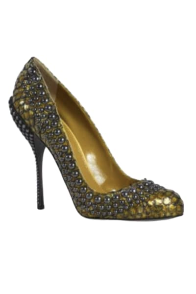 Sergio Rossi Military Green Studded Shoes