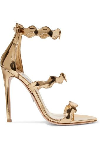 Prada Gold scalloped heels Preview Images