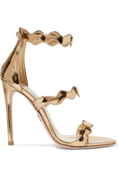 Prada Gold scalloped heels