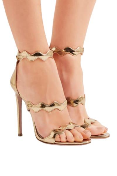 Prada Gold scalloped heels 2
