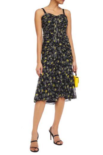Cinq à Sept Ruched floral print silk dress 2 Preview Images