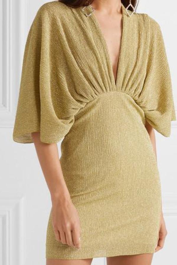 Rotate Metallic Stretch Knit Dress 2